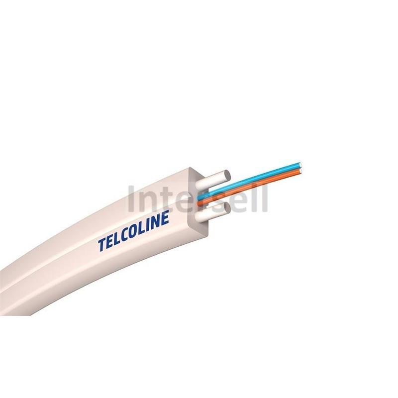 Kabel światłowodowy płaski Telcoline FTTH 2J (biały, LSZH) WZMOCNIONY 1000m-101403