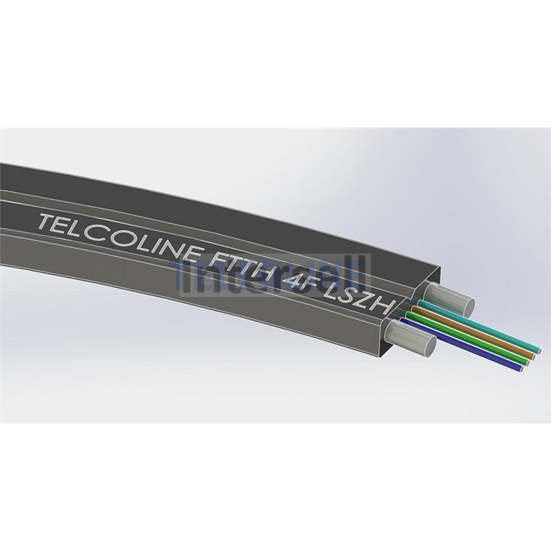 Kabel światłowodowy płaski Telcoline FTTH 4J (czarny, LSZH) 1000m-102031